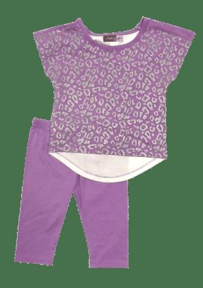 Short Sleeves Top And Leggings Set-purple - Baby Ziggles