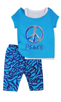 Top And Three Fourth Pant Set- Blue - Baby Ziggles