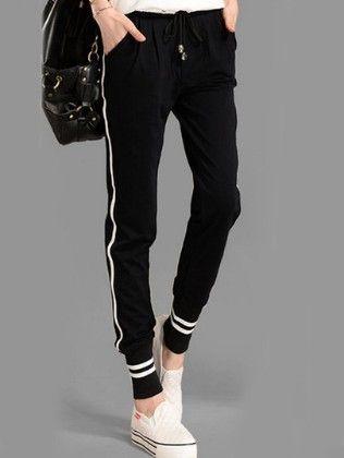 Black Drawstring Waist Striped Pant - She In