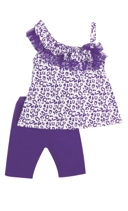 Top And Three Fourth Pant Set-purple - Baby Ziggles
