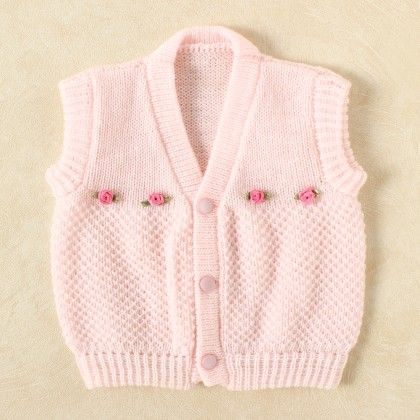 Baby Pink & White Blended Vest - Knitting Nani