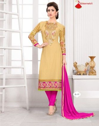 Golden And Pink Georgette Churidar Semi Stitched Suit - Fashion Fiesta