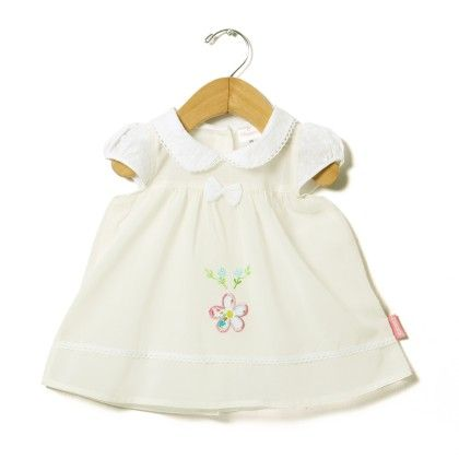 Plain Voile Chikan Collar Dress With Flower Embroidery-white - Chocopie