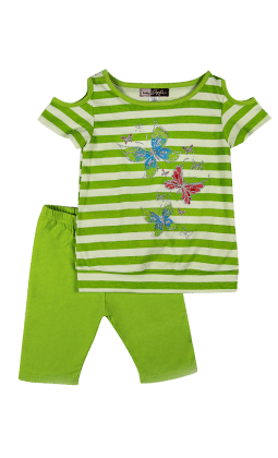 Top And Three Fourth Pant Set- Pistachio - Baby Ziggles