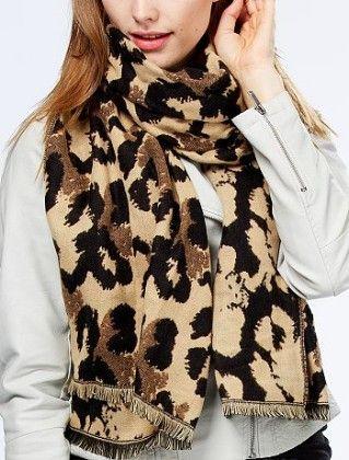 Leopard Print Knit Scarf Multi - Kiabi