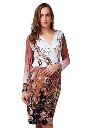 Dressvilla Brown & White Printed Short Dress