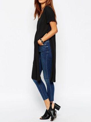 Black V Neck Split Side T-shirt - She In