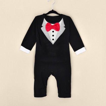 Baby Boy Long Sleeve Fancy Bowknot Jumpsuit - Black - Kidsloft