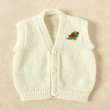 Off White & White Blended Vest - Knitting Nani