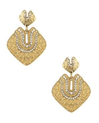 Pair Of Stunning Square Shaped Earrings With Cz Stones - Voylla