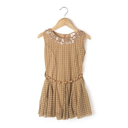 Sleeveless Net Fabric With Beads Belt - Bedge - Chocopie