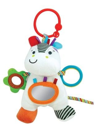 Zippy Zebra Hand Rattle, Squeakers, Crinkle With Sound - Little Pals