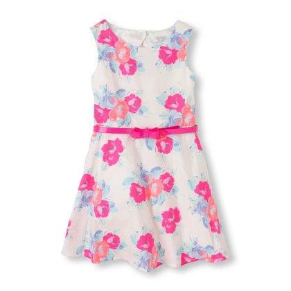 Girl's Sleeveless Neon Bow Belt Floral Print Dress - Cloud - The Children's Place