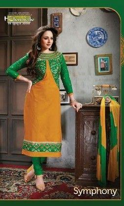 Yellow And Green Semi Stitched Suit - Fashion Fiesta