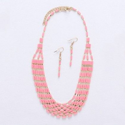 Golden Chain With Pink Crystals - Wilfred Jewellery