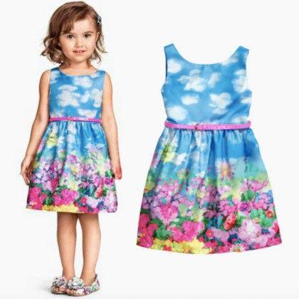 Sky Blue Grafitte Dress - Petite Kids
