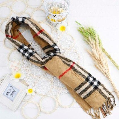 Brown Striped Scarf - Glaze