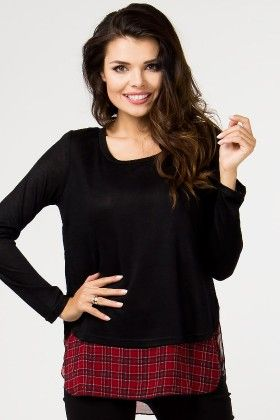 Checkered Top Top-black Or Red - Depare