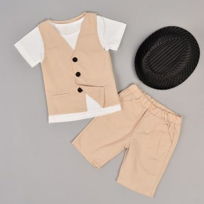 Three Pieces Clothing Set O-neck Short Sleeve T-shirt And V Neck Vest With Pants - Yellow - Kidsloft