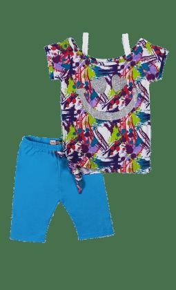 Short Sleeves Top And Leggings Set-blue - Baby Ziggles
