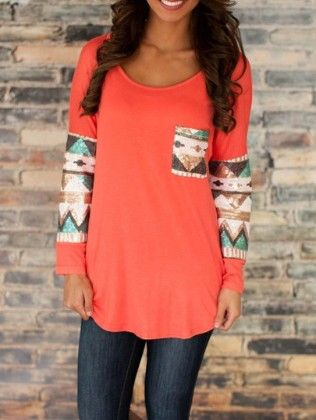 Orange Round Neck Sequined Quilting Pane Colourblock Pocket T-shirt - She In