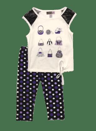 Glitter Purse Top And Polka Dot Legging Set-ivory - Baby Ziggles