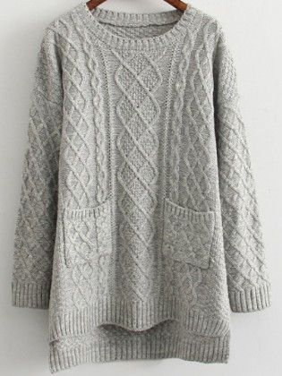 Dip Hem Cable Knit Pockets Pale Grey Sweater - She In