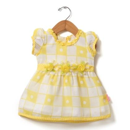 Brasso Printed Dress With Tissue Flower-lemon - Chocopie