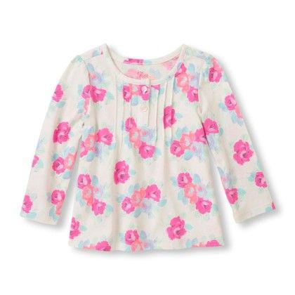 Long Sleeve Floral Knit Top -cloud - The Children's Place