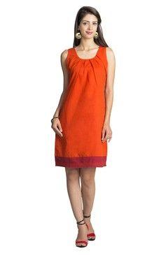 Mohr Women's Sleeveless Dress With Pleated Neckline Dark Orange