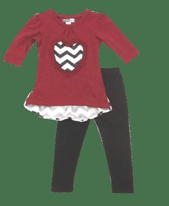 Chevron Heart Top And Legging Set- Burgandy - Baby Ziggles