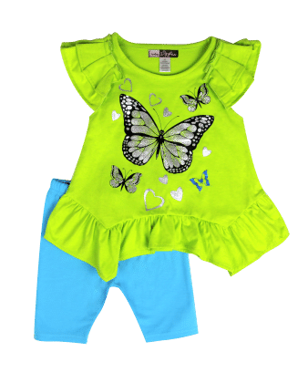 Flutter Sleeves Top And Shorts Butterfly Print Set-lime - Baby Ziggles