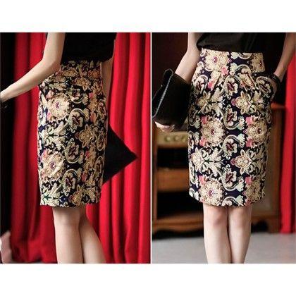 High Waist Floral Print Skirt - The Dressingloft