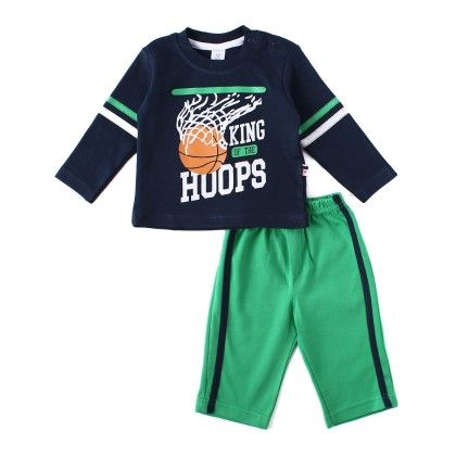 King Of The Hoops  Boys Set With Soft Cotton Full Pant - TOFFYHOUSE