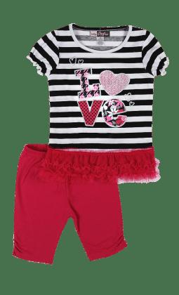 Top And Three Fourth Pant Set- Fuchsia - Baby Ziggles