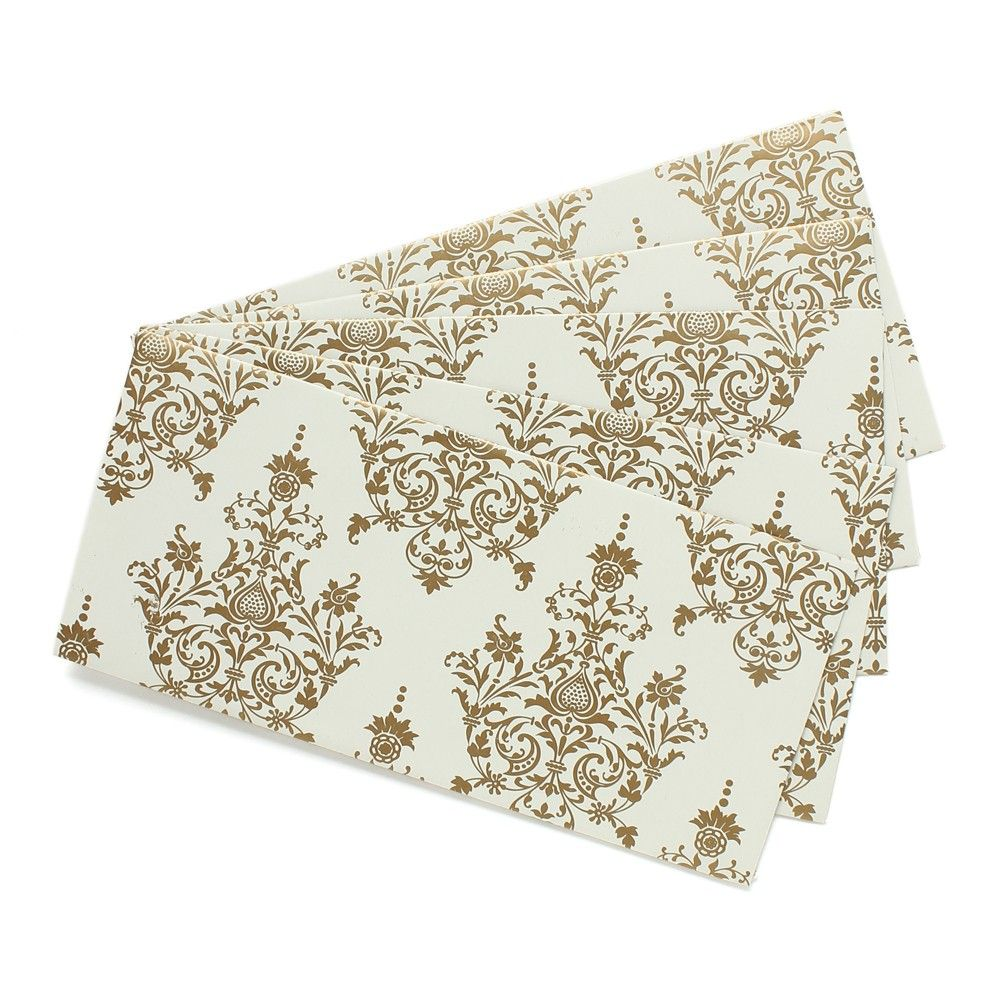 White With Gold Print Envelopes - White Gold - Pack Of 5 - Velvetise