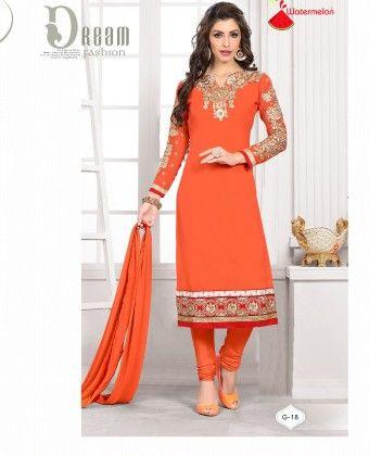Orange Georgette Churidar Semi Stitched Suit - Fashion Fiesta