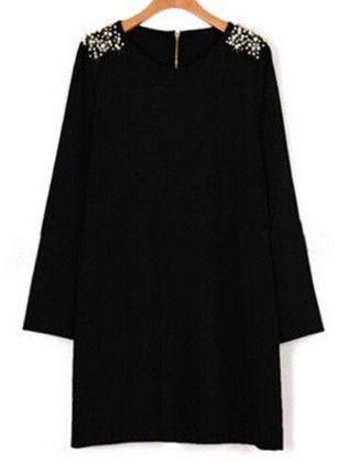 Black Round Neck Bead Straight Plus Dress - She In