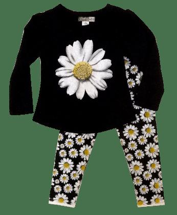 Daisy Tee & Leggings Set-black - Baby Ziggles