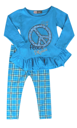 Top And Legging Set-blue - Baby Ziggles