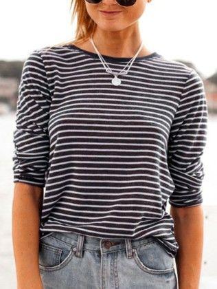 Long Sleeve Striped Black T-shirt - She In