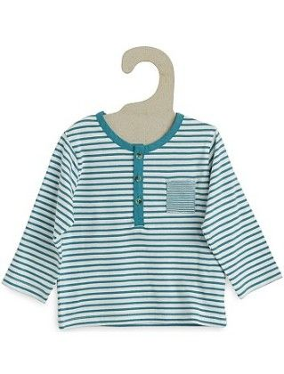 Striped T-shirt With Grandad-style Neckline - Kiabi