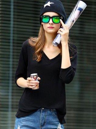 Black V Neck Vintage Loose T-shirt - She In