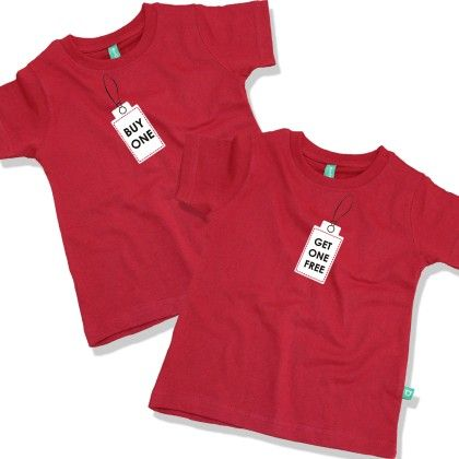 Get One Free Round Neck Tees For Twins - BonOrganik