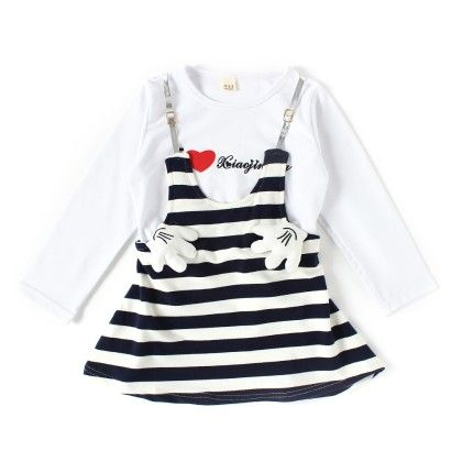Blue And White Striped Full Sleeve Dress - ChipChop