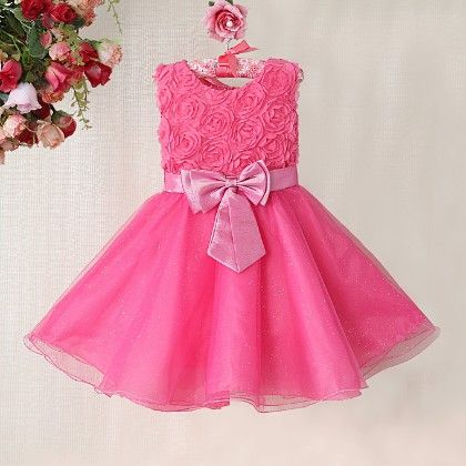 Hot Pink Shimmer Dress With A Double Bow - The KidShop