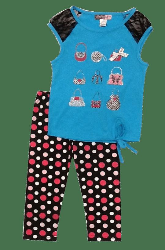 Glitter Purse Top And Polka Dot Legging Set-blue - Baby Ziggles