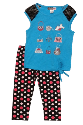 Glitter Purse Top And Polka Dot Legging Set-blue - Baby Ziggles