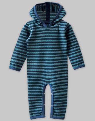 Waffle Navy-blue Stripe Hooded Jumpsuit - A.T.U.N