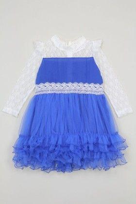 White And Royal Blue Lace Dress - Tutu And Lulu